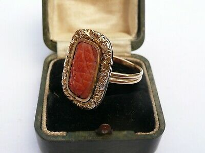 Super Antique Large Solid 18ct Gold Carved Coral Ring Size Q 18.36mm 6.2 Grams • 599.99£