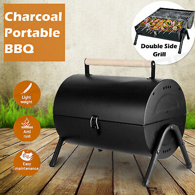 AU41.50 • Buy Stainless Steel BBQ Barrel Charcoal Smoker Portable Foldable Barbecue Camping Bl
