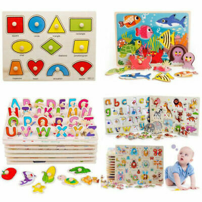 £3.99 • Buy Wooden Animal Letter Puzzle Jigsaw Early Learnin Kids Educational Toys 30 Design