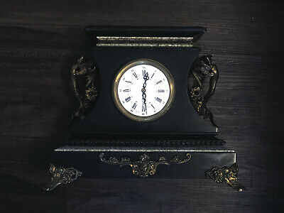 Antique French Black Marble Slate Mantel Clock With 2 Statues • 418.63£