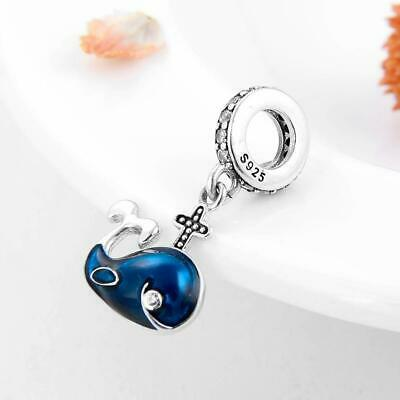 AU26.90 • Buy BLUE WHALE S925 Sterling Silver Bead Charm By Charm Heaven