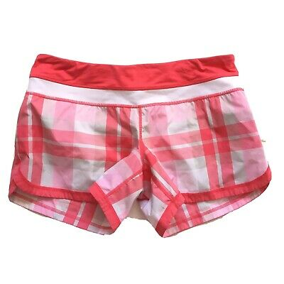 $ CDN56 • Buy Free Shipping Lululemon Groovy Run Shorts Size 8 Pink Red Plaid Lined EUC