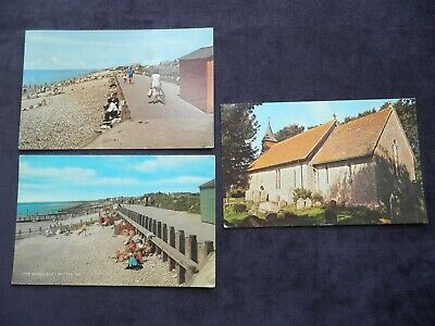 3 Vintage Postcards Of East Wittering, St. John The Baptist Church, The Beach • 2.99£