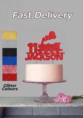 Personalised Train Cake Topper Any Age Name Colour Birthday Glitter • 2.99£