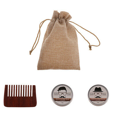 Beard Balm Natural Moisturizing Wax Men's Mustache Grooming Comb Kit & Bag • 10.57£