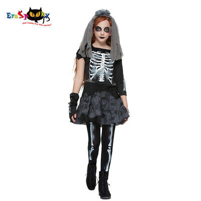 2020 Kids Scary Skeleton Zombie Girls Ghost Bride Dress Halloween Party Costume • 12.76£