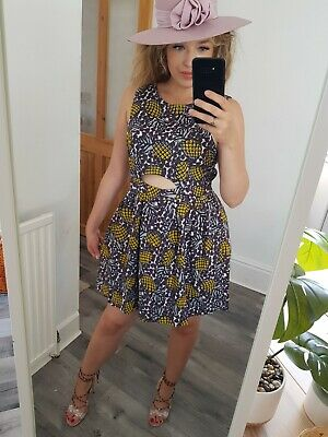Topshop Tropical Cotton Skater Dress Size 14 Pineapple Purple Yellow Summer  • 8.50£