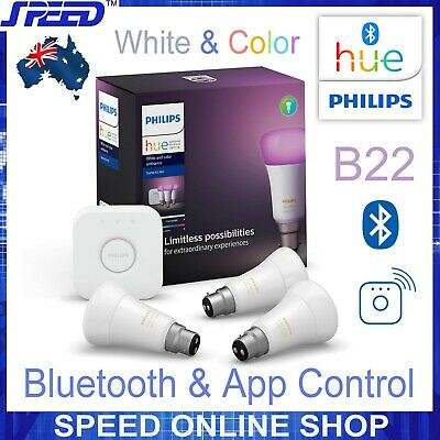AU299 • Buy Philips Hue White & Color Ambiance Starter Kit B22 - Bluetooth/App/WiFi Controls