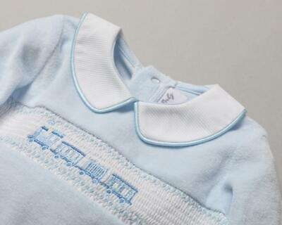 £13.99 • Buy Baby Boys Spanish Style Blue Velour Smocked Embroidered Trains Babygrow Romper
