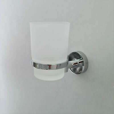 Modern Chrome Finish Toothbrush Holder With Glass Cup Wall Mounted Accessory • 11.20£