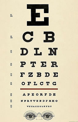 Large Framed Print - Antique Eye Chart (Picture Poster Snellen Optician Glasses) • 24.95£