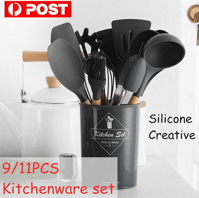 AU27.99 • Buy 9/11Pcs Silicone Utensils Sets Non-stick Wooden Kitchen Baking Cookware Tools
