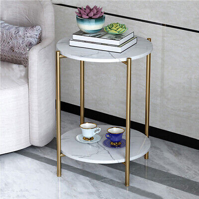 AU82.99 • Buy 2 Layers Circular Modern Faux Marble Topped Table Side End Accent Night Stand AU