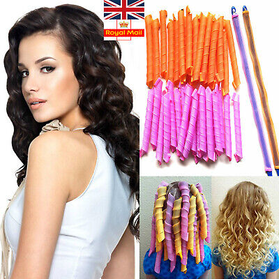 18/40PCS Magic Long Hair Curlers Curl Leverage Rollers Spiral Styling Tool +Hook • 10.99£
