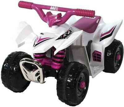 AU119 • Buy NEW AWA Mini Quad Bike 6 Volt Ride On  White Pink 6V From Mr Toys