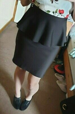 Topshop Short Black Ribbed Peplum Skirt Party Fitted Size 12 - Elastic Waist • 6.99£