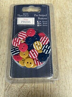 £4 • Buy Papermania - Pin Striped Buttons - 30pcs Red, Blue & Golden Yellow