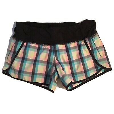 $ CDN53 • Buy Free Shipping Lululemon Speed Shorts Size 6 Multicolour Lined Running Plaid