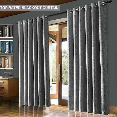 Thick Thermal Blackout Eyelet Ring Top Ready Made Pair Curtains With Tie Backs • 17.95£