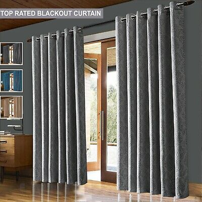 Thick Thermal Blackout Eyelet Ring Top Ready Made Pair Curtains With Tie Backs • 19.95£