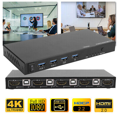 AU109.92 • Buy 4 In 1 Out HDMI KVM Switch Box 4K Switcher Splitter Keyboard Mouse USB Sharer