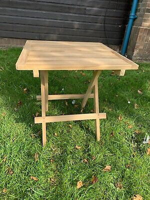 £49.99 • Buy Teak Coffe Table Fully Folding Ideal Side Table For Drinks It's 50 Cm Square