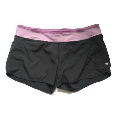 $ CDN61 • Buy Free Shipping Lululemon Speed Up Shorts Sz 12 Lined Purple Black Great Condition