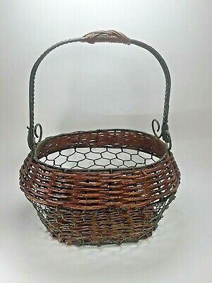 Wicker And Wire Egg Basket New England Style With Metal Handled Green  Brown 1s • 13.11£