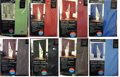 DreamScene Supersoft Thermal Blackout Curtains With Tiebacks • 10.99£