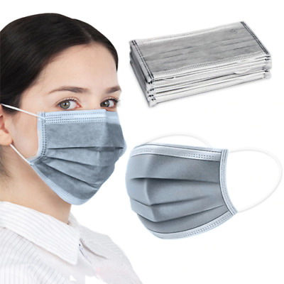 AU20.95 • Buy Disposable Face Mask Protective GREY BLACK BLUE 4 Layer Anti Bacterial Filter