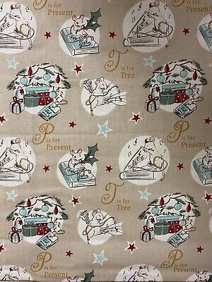 £4.50 • Buy FESTIVE CHRISTMAS MOUSE 100% Cotton Fabric Material BY HALF METRE