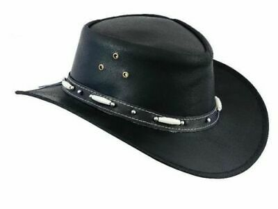 FREE DELIVERY Australian Aussie Style Leather Cowboy Hat Western Bush Beads Hat  • 14£
