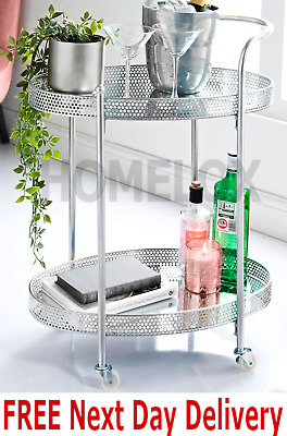 £45 • Buy Deco Glamour Drinks Trolley - Silver With 2 Mirrored Shelves - Art Deco Theme