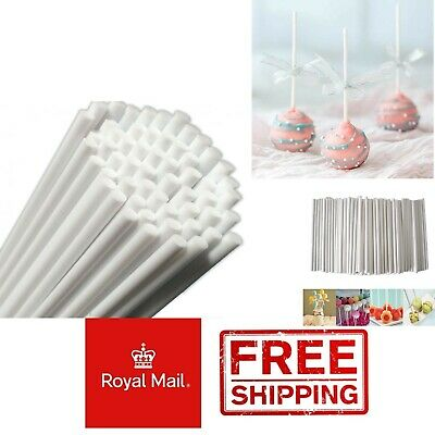 £3.49 • Buy 100 White 15cm Paper Lollipop 6  Sticks Cake Pops Sweets Lolly Pop Stick Sweet