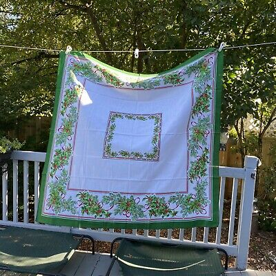 $ CDN65.32 • Buy Vintage Sunweave Tablecloth Christmas Garden Made In USA 52  Square