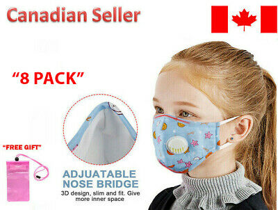 $ CDN8 • Buy Kids, Girls, Toddler, Child Reusable Cloth Face Mask With Breathing Valve 2 PACK