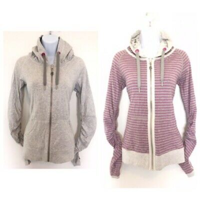 $ CDN50 • Buy Free Shipping Lululemon Reversible Jacket Full Zip Sz 6 Grey Pink Stripe