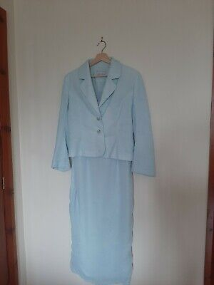 Michel Ambers Dress And Jacket Set Size 12 Blue Mother Of Bride/groom Formal • 29.95£