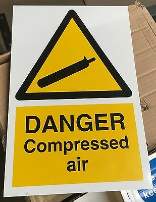 Warning Sign - DANGER Compressed Air - 300 X 200mm Safety Signs • 1.85£