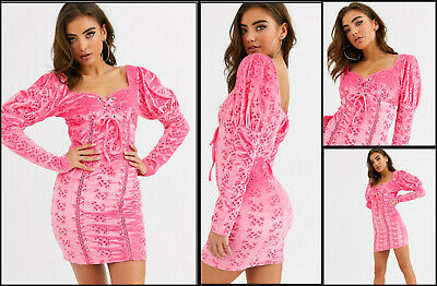 AU20 • Buy ASOS Cute Pink Velvet Broderie Lace Up Front Dress Size 16 Rrp $80