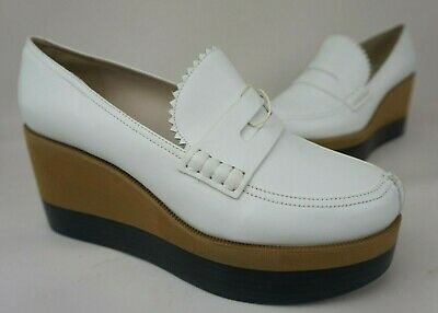 Jil Sander Navy Wedge Oxford Shoes White Leather Women's Shoes Size 40 • 71.53£