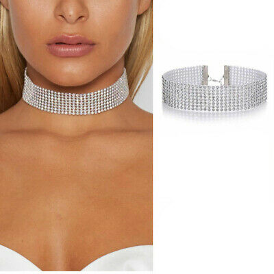 AU8.95 • Buy Diamanté Choker Silver Rhinestone Crystal Bling Necklace Jewellery Thick Wide