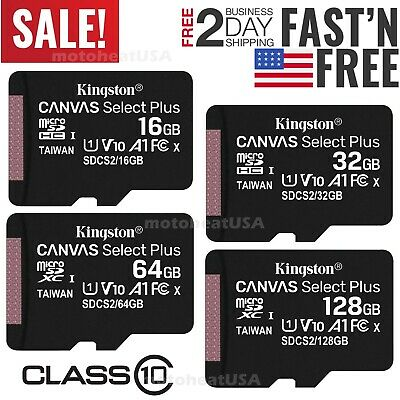 $11.50 • Buy Kingston Micro SD Card 16GB 32GB 64GB 128GB Class 10 100MB/s TF Memory Card