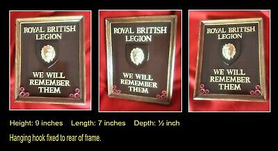 ROYAL BRITISH LEGION REMEMBRANCE Regimental Framed Plaque  • 15£