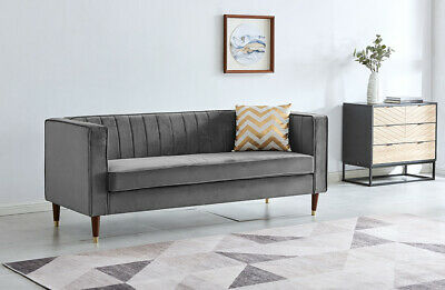 Velvet Fabric Sofa Set Couch Settee Suite Luxury Upholstered Seater Chair • 219.99£
