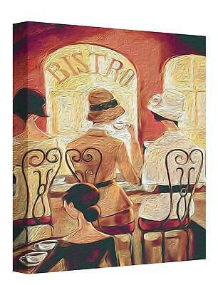 £22.50 • Buy Art Deco Ladies Sitting In Cafe Canvas Wall Art Picture Print Painting