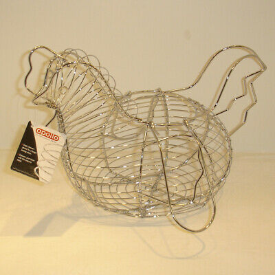 Apollo Chicken Egg Basket - Chrome Plated Wire Hen Storage Kitchen Rack Holder • 11.99£