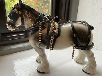 Vintage China Shire Horse Figurine In Full Harness (horse 1) • 11£