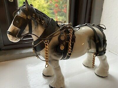 Vintage China Shire Horse Figurine In Full Harness (horse 2) • 11£