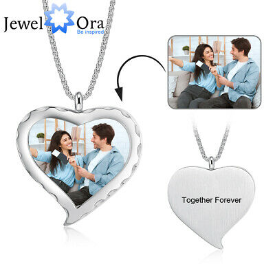 Personalized Photo Necklace Custom Free Engraved Text Heart Love Picture Pendant • 9.99£